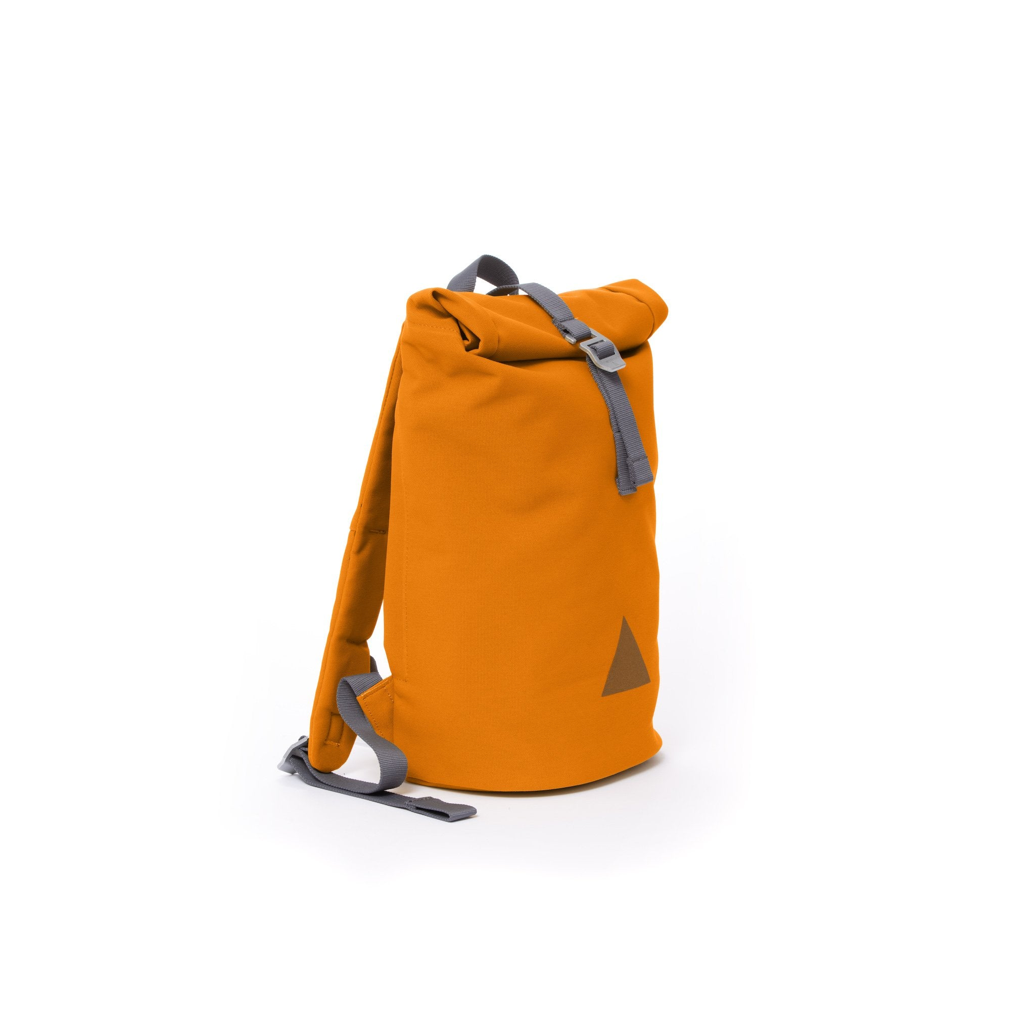 Orange recycled canvas women's rolltop backpack.