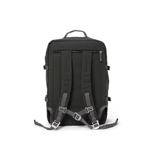 Grey travel backpack with padded shoulder straps.