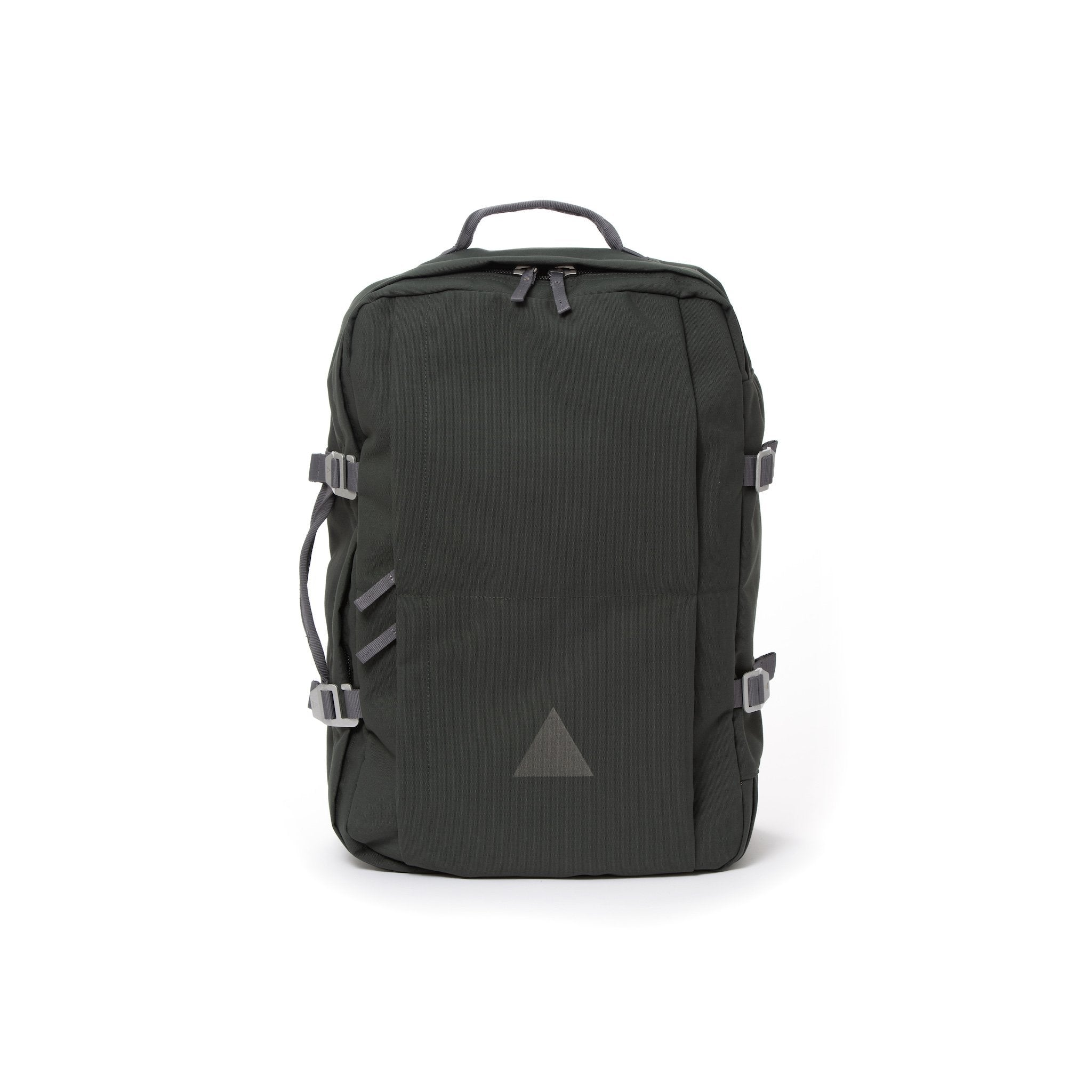 Grey recycled canvas travel backpack.