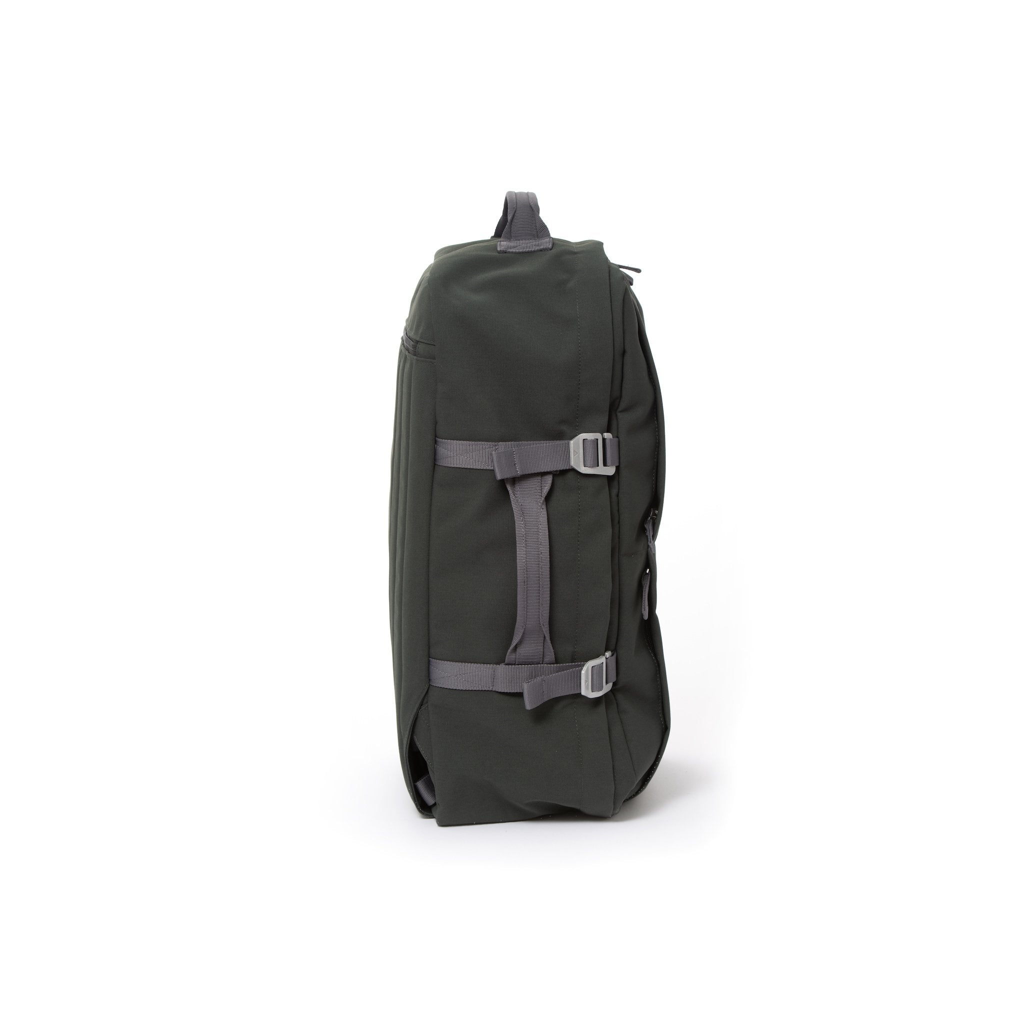Grey recycled canvas travel backpack with compression side straps.