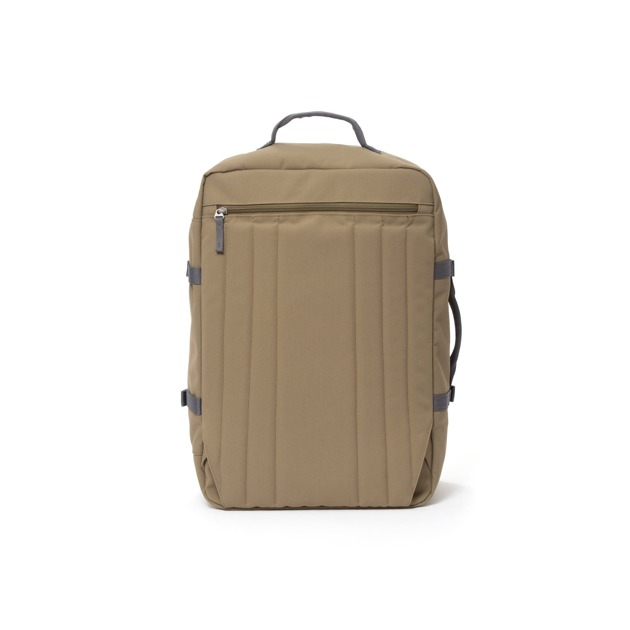 Khaki  travel backpack with hidden shoulder straps.