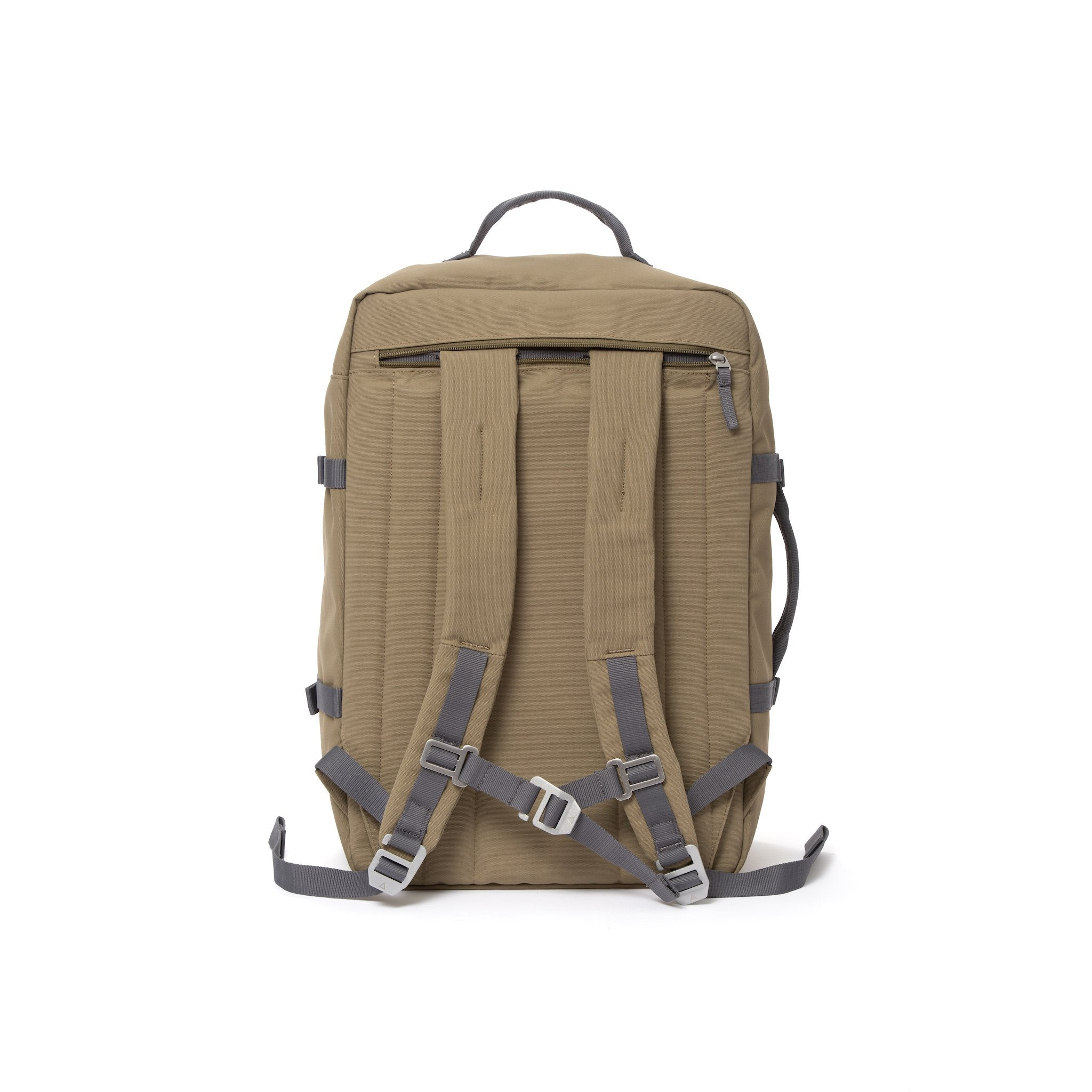 Khaki travel backpack with padded shoulder straps.