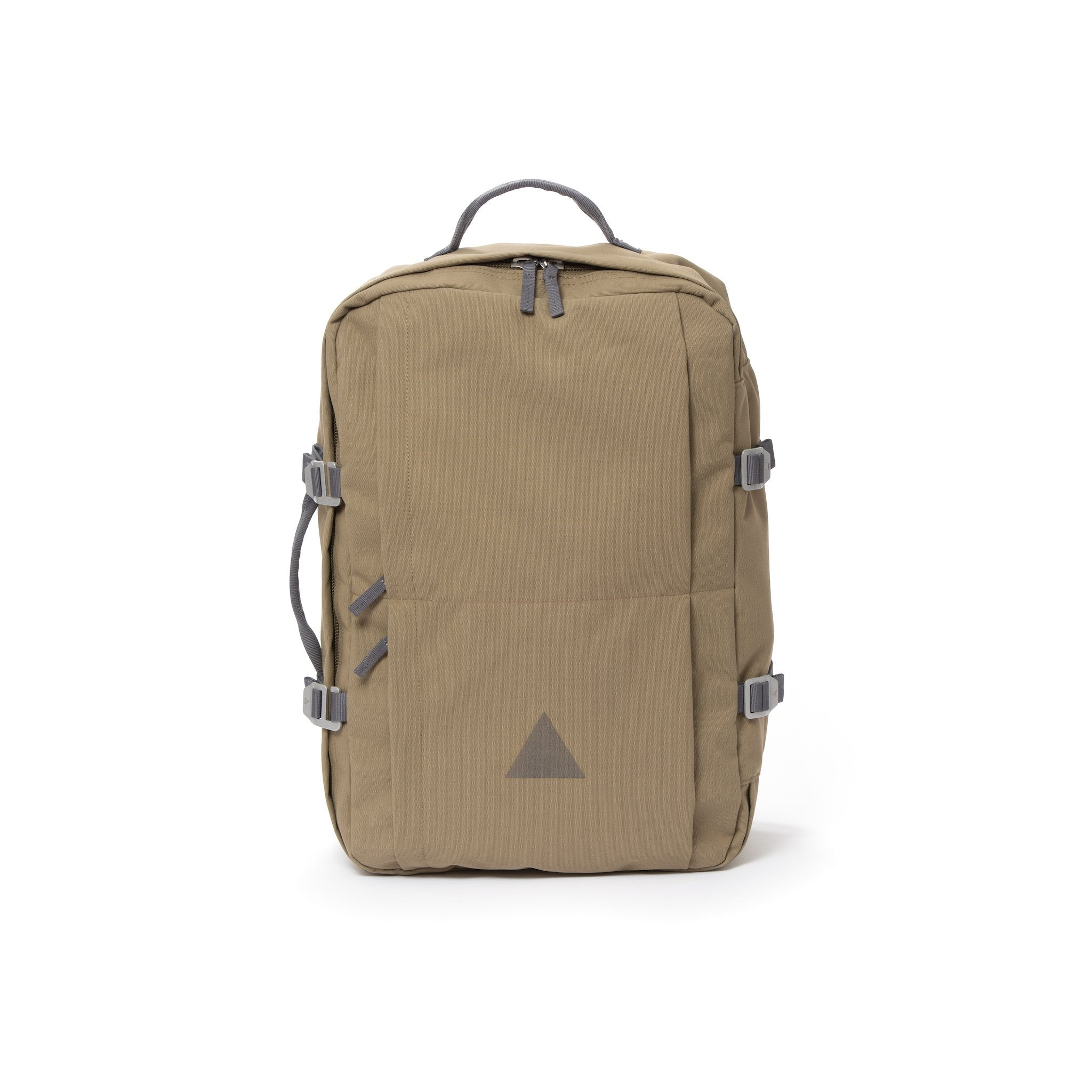Khaki recycled canvas travel backpack.