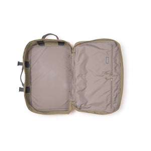 Khaki travel backpack interior.