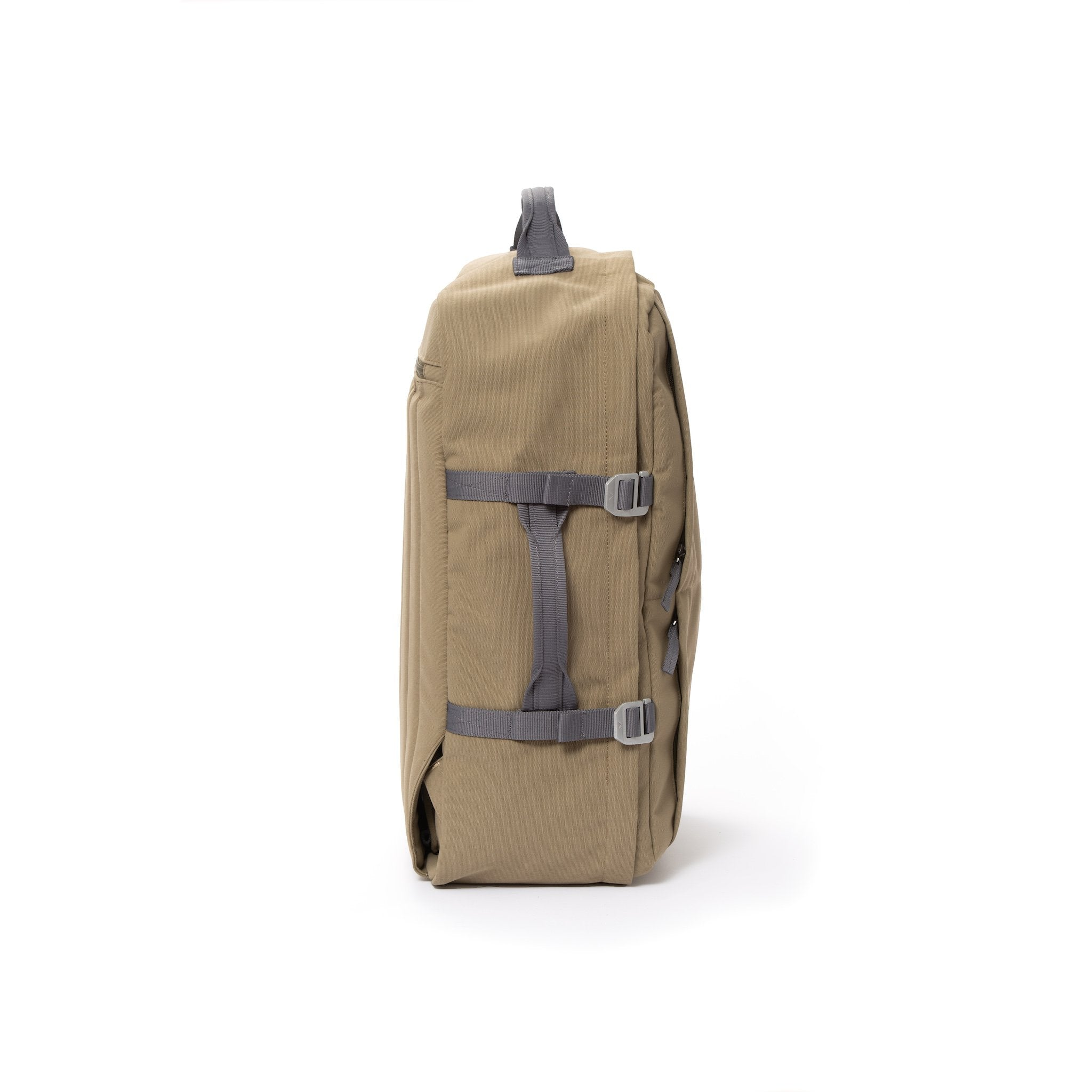 Khaki recycled canvas travel backpack with compression side straps.