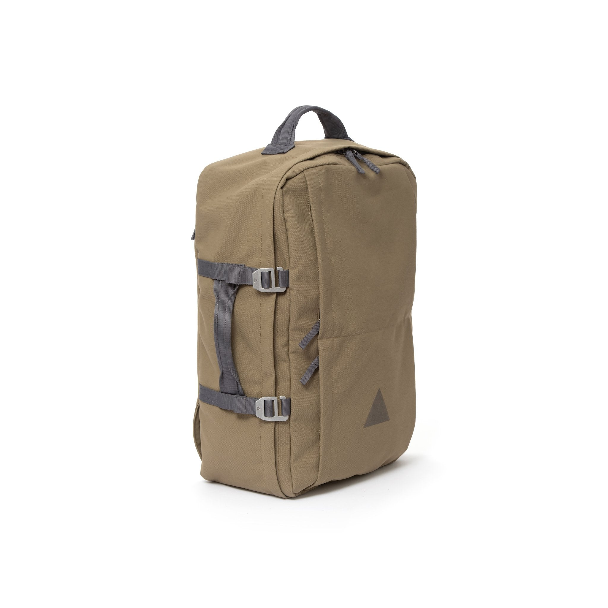 Khaki recycled canvas travel backpack with carry handle.