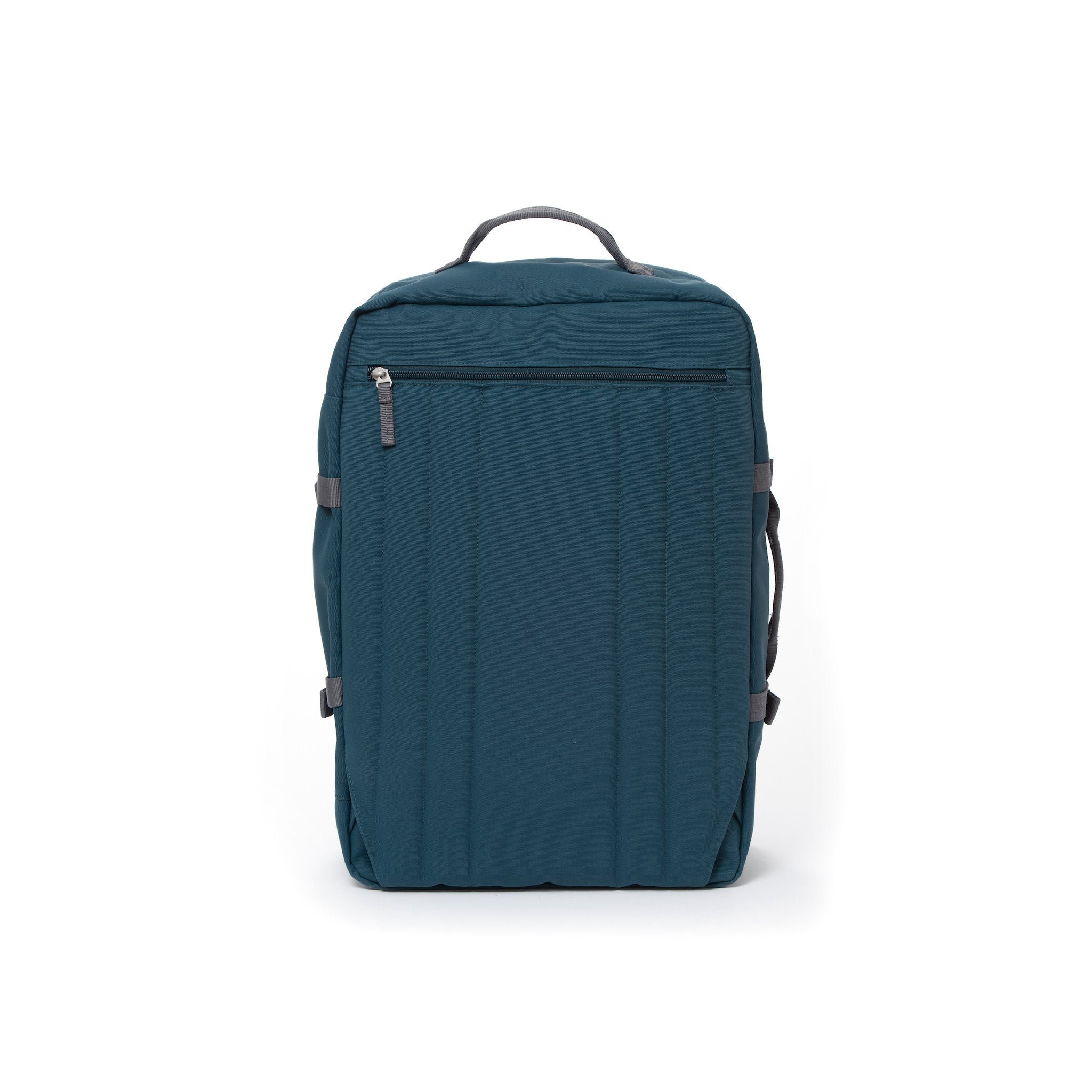 Blue travel backpack with hidden shoulder straps.