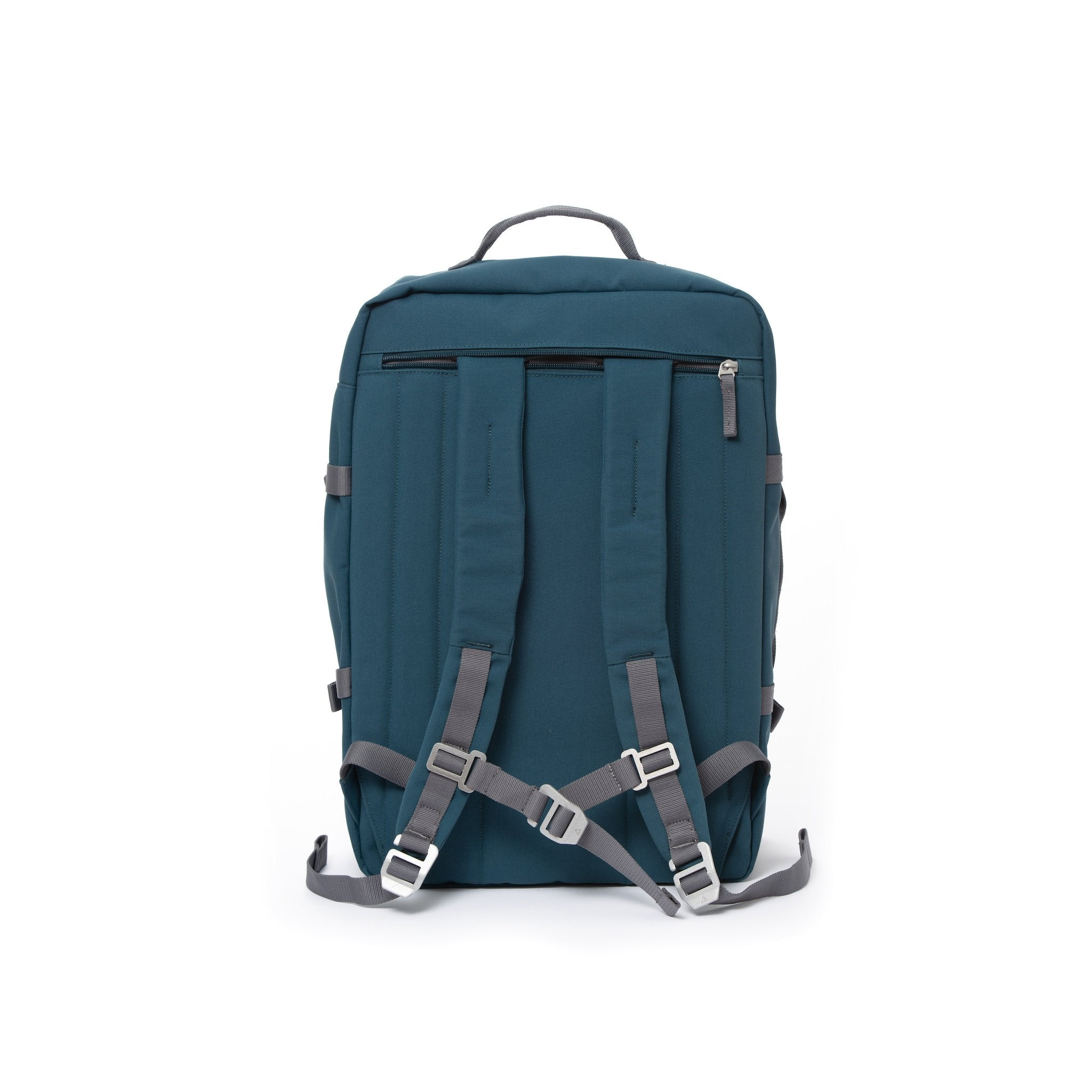 Blue travel backpack with padded shoulder straps.