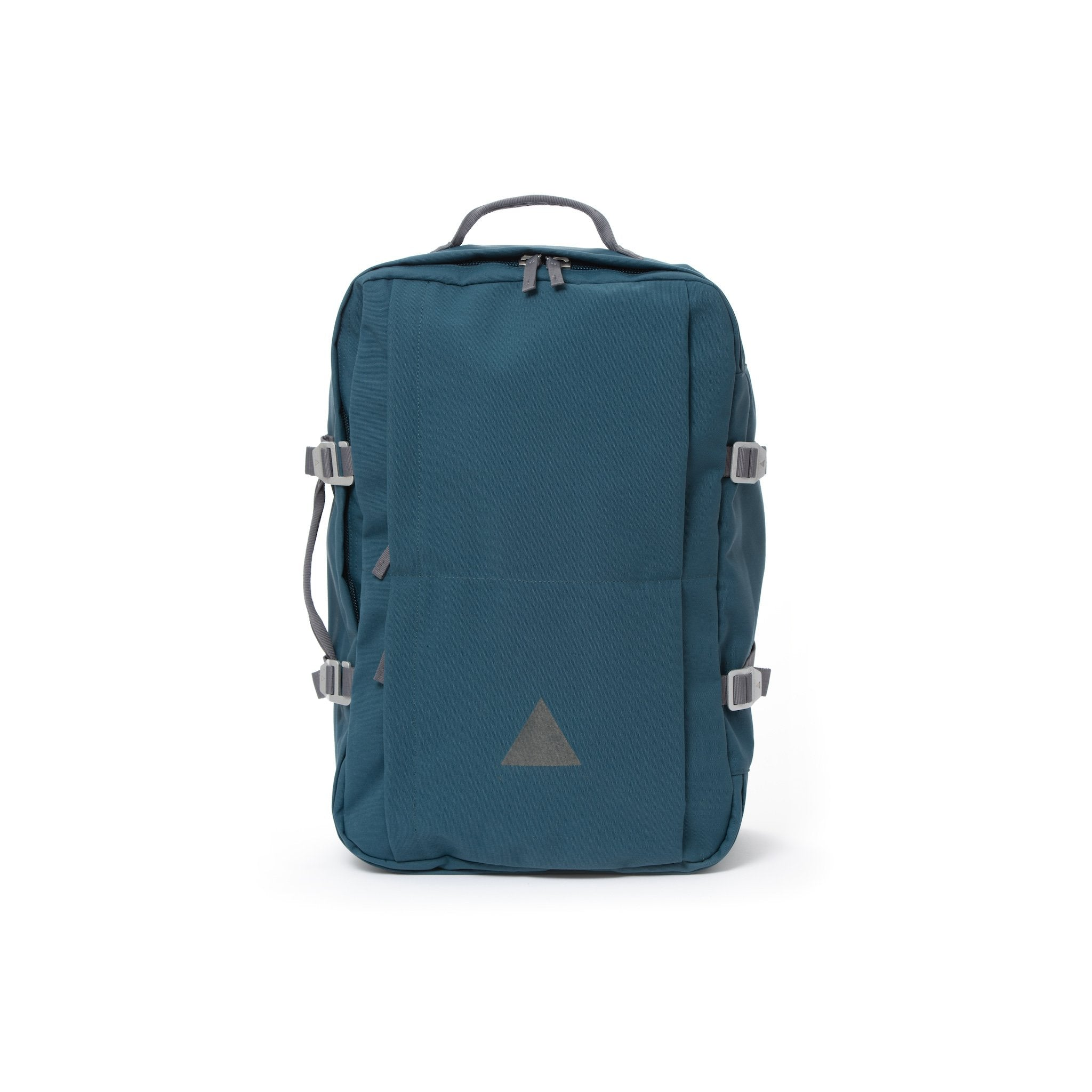 Blue recycled canvas travel backpack.