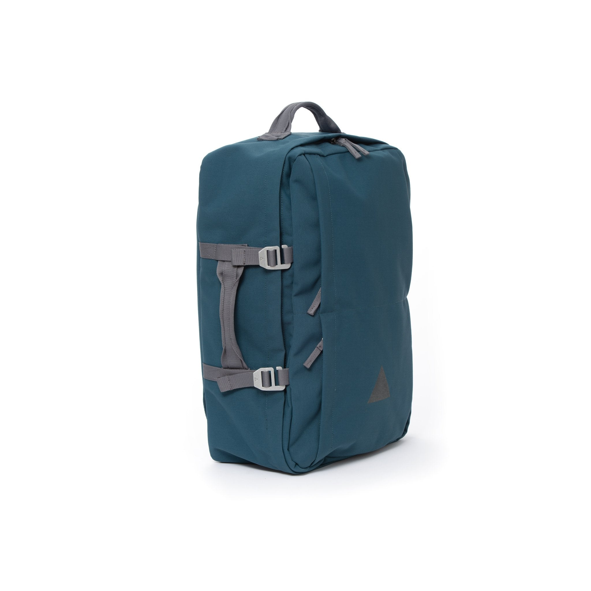 Blue recycled canvas travel backpack with carry handle.