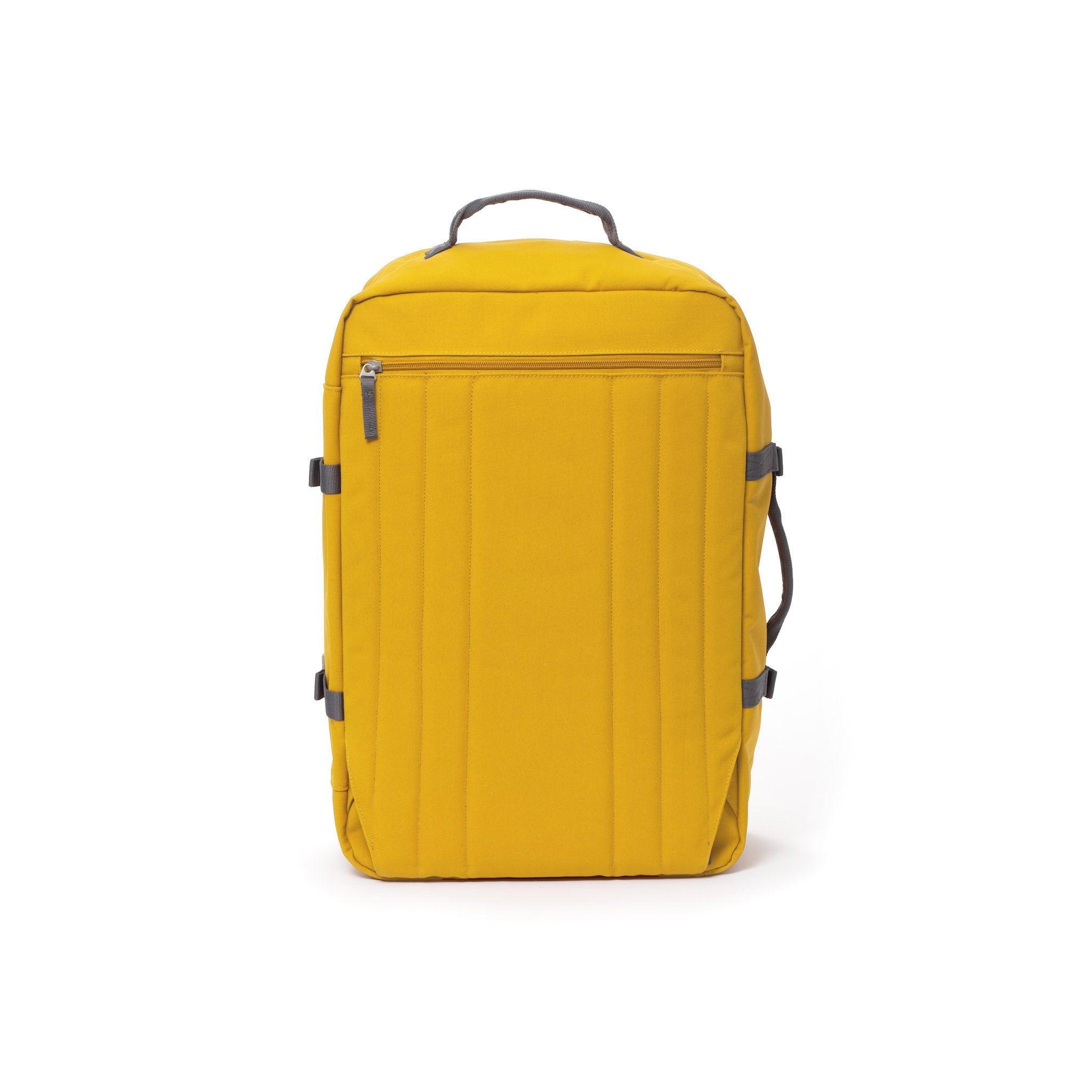 Yellow travel backpack with hidden shoulder straps.