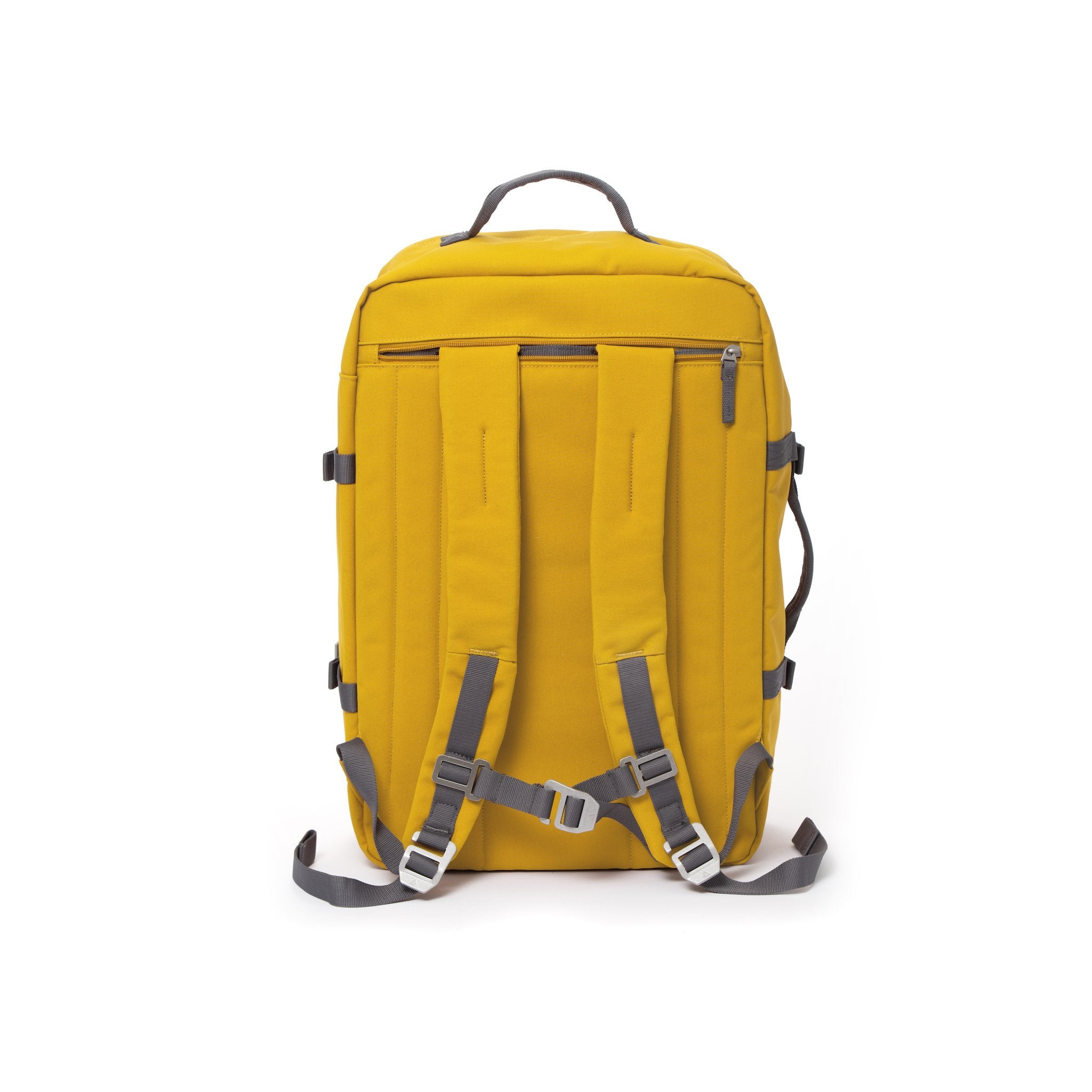 Yellow travel backpack with padded shoulder straps.