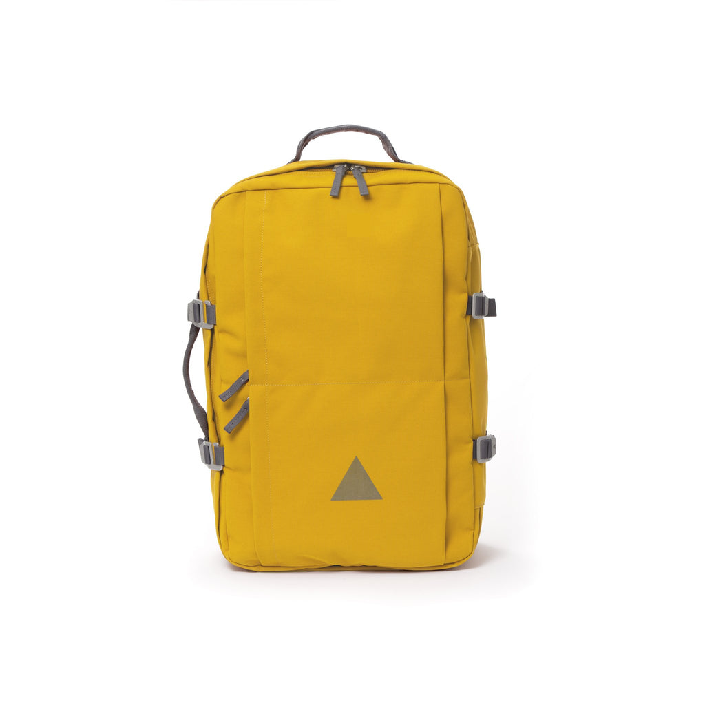 Yellow recycled canvas travel backpack.