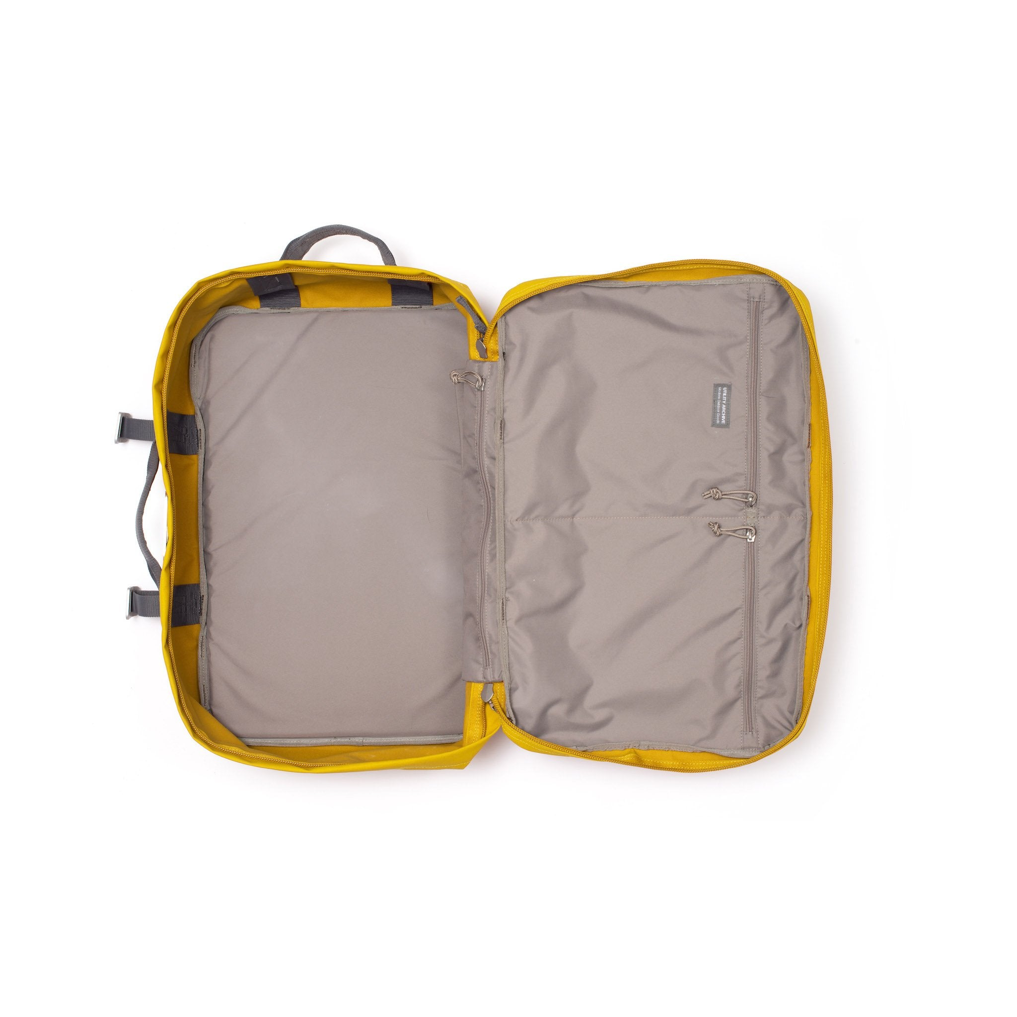 Yellow travel backpack interior.