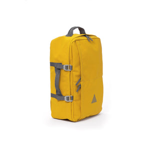 Yellow recycled canvas travel backpack with carry handle.