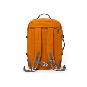 Orange travel backpack with padded shoulder straps.