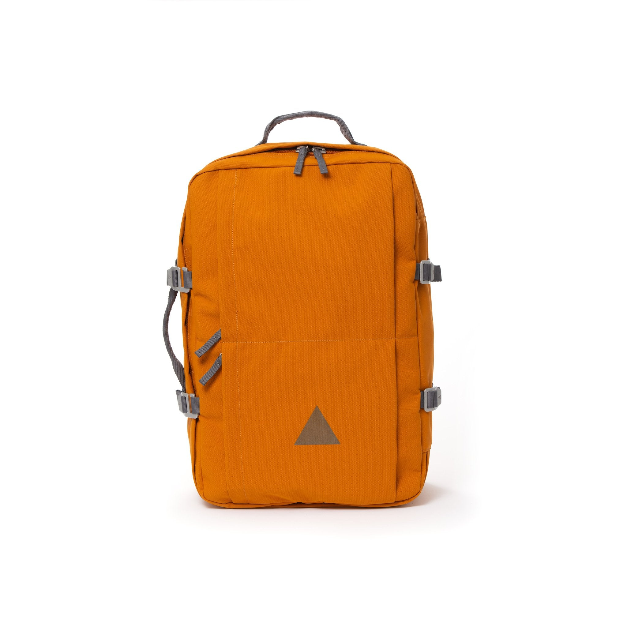 Orange recycled canvas travel backpack.