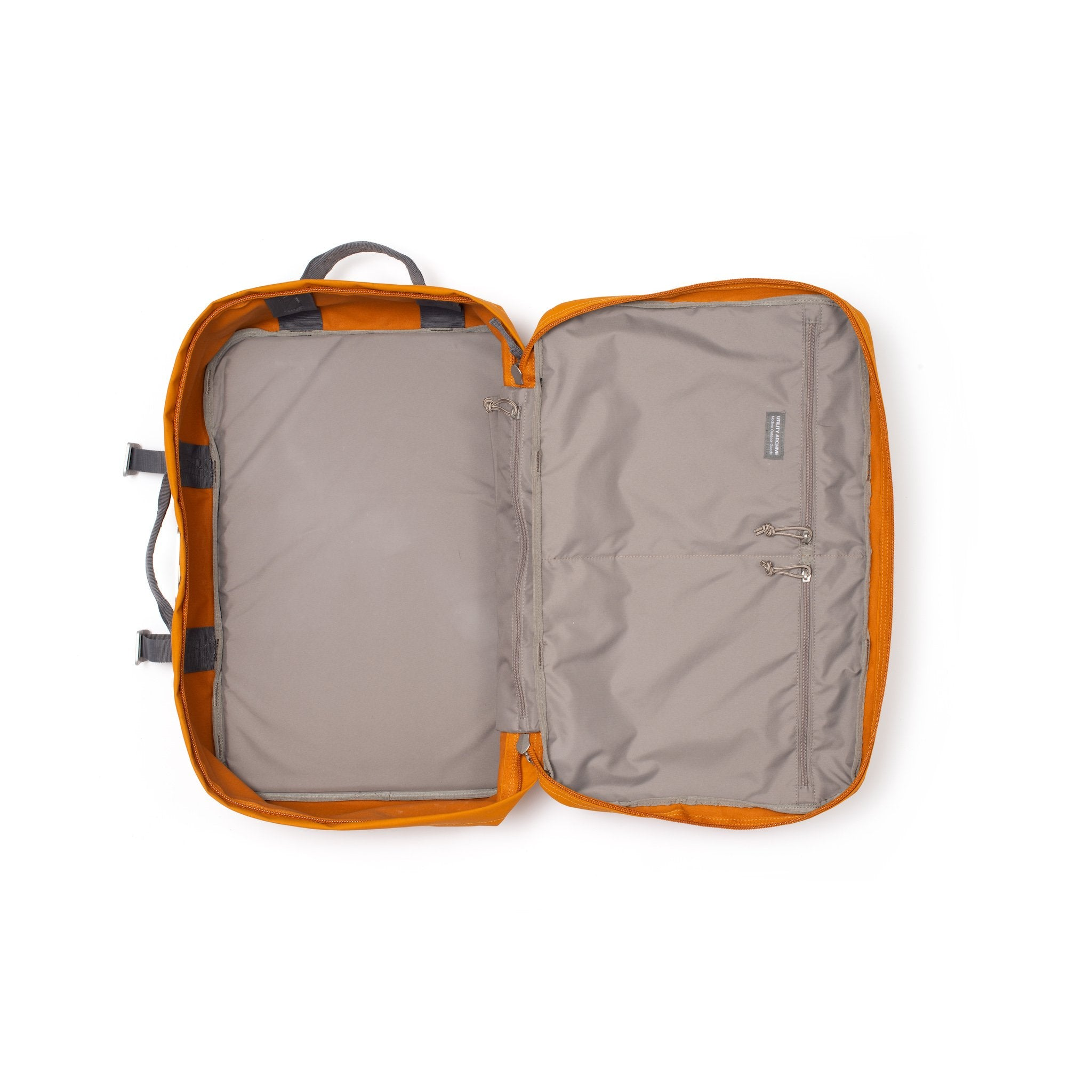 Orange travel backpack interior.