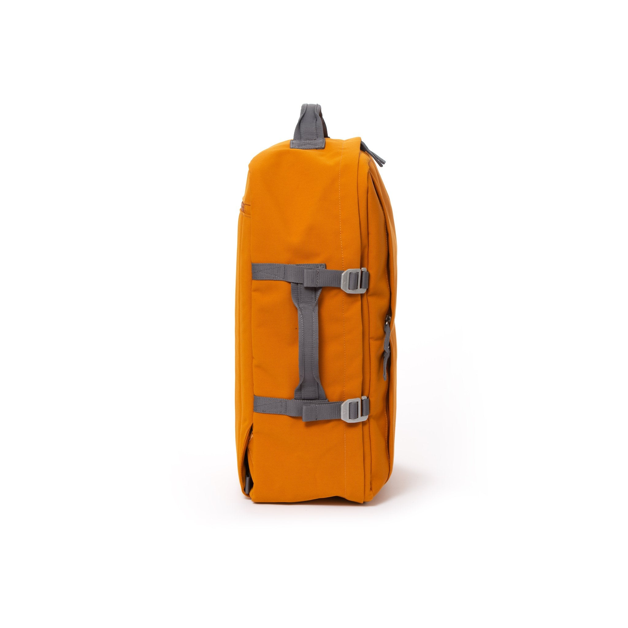 Orange recycled canvas travel backpack with compression side straps.