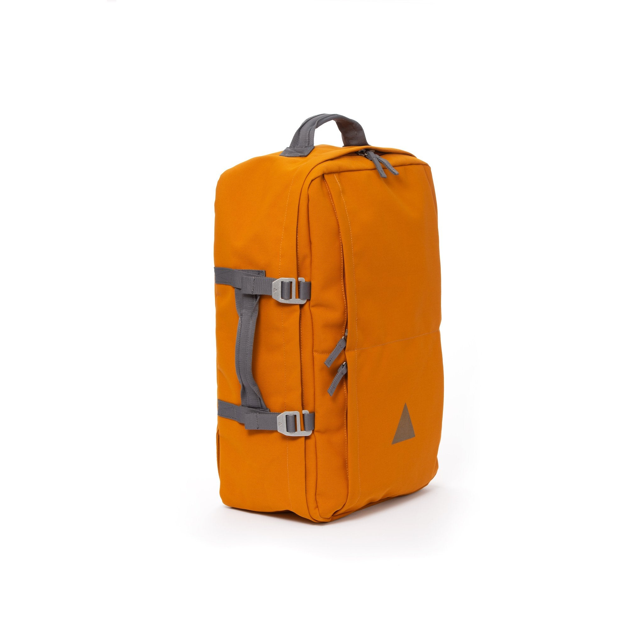 Orange recycled canvas travel backpack with carry handle.