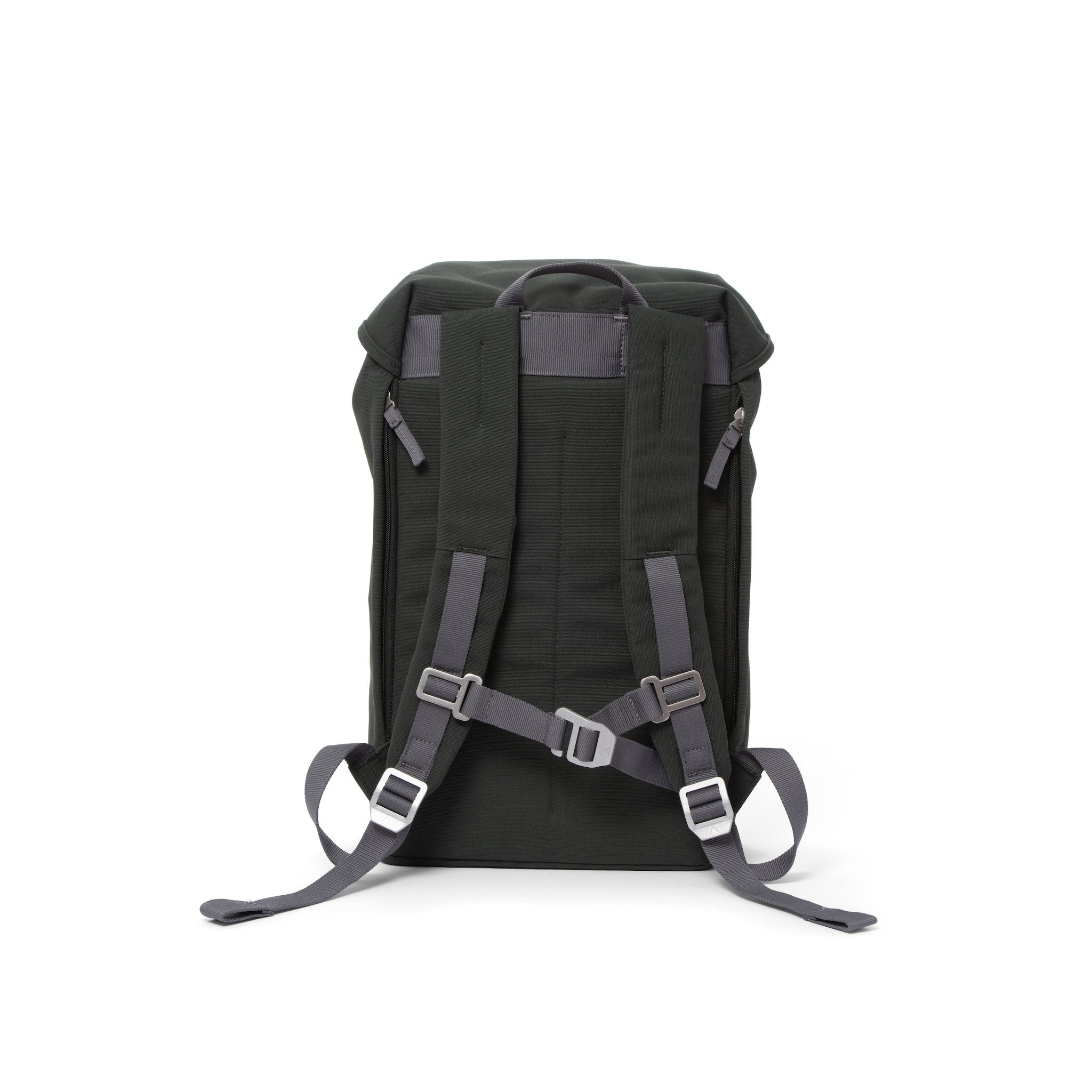 Grey waterproof backpack with padded shoulder straps and chest strap.