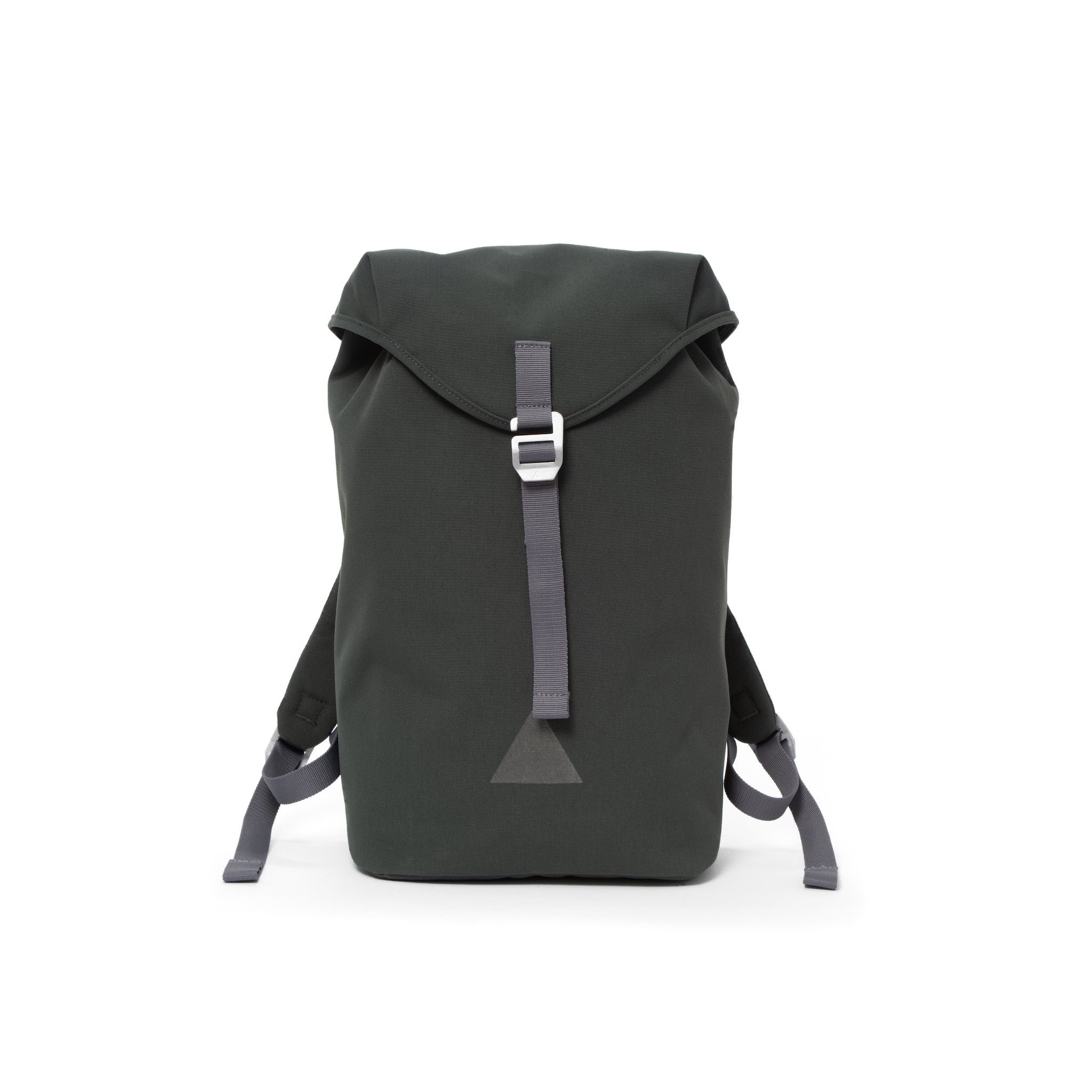 Grey canvas backpack with a flap closure and triangle logo.