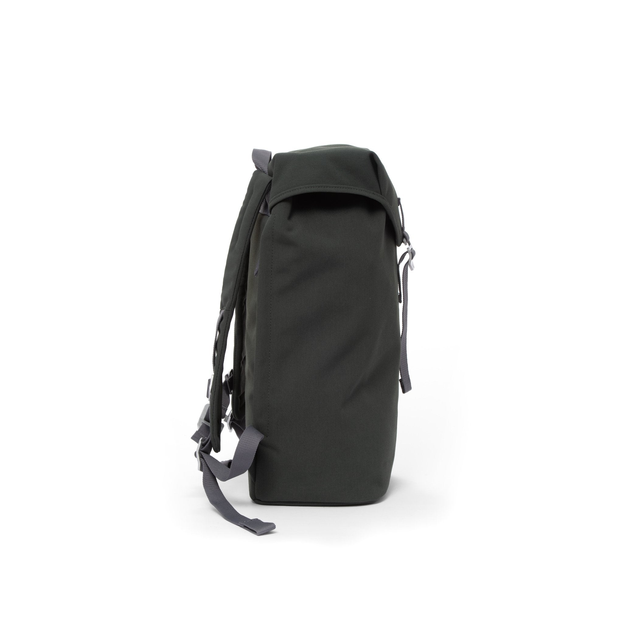Grey waterproof backpack with flap and metal buckle.