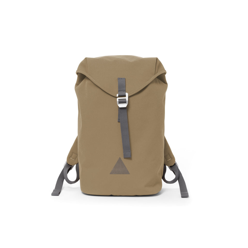 Khaki canvas backpack with a flap closure and triangle logo.