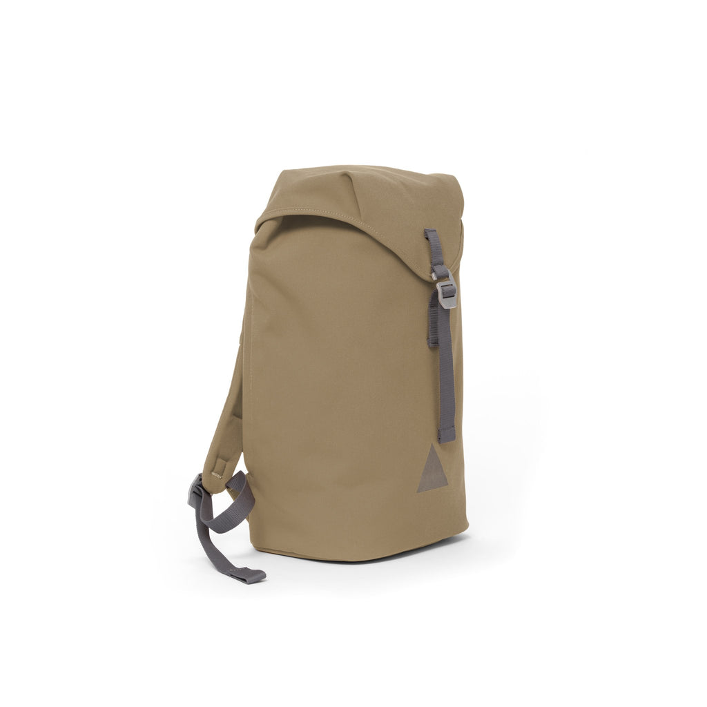Khaki recycled canvas backpack with strap closure and metal buckle.