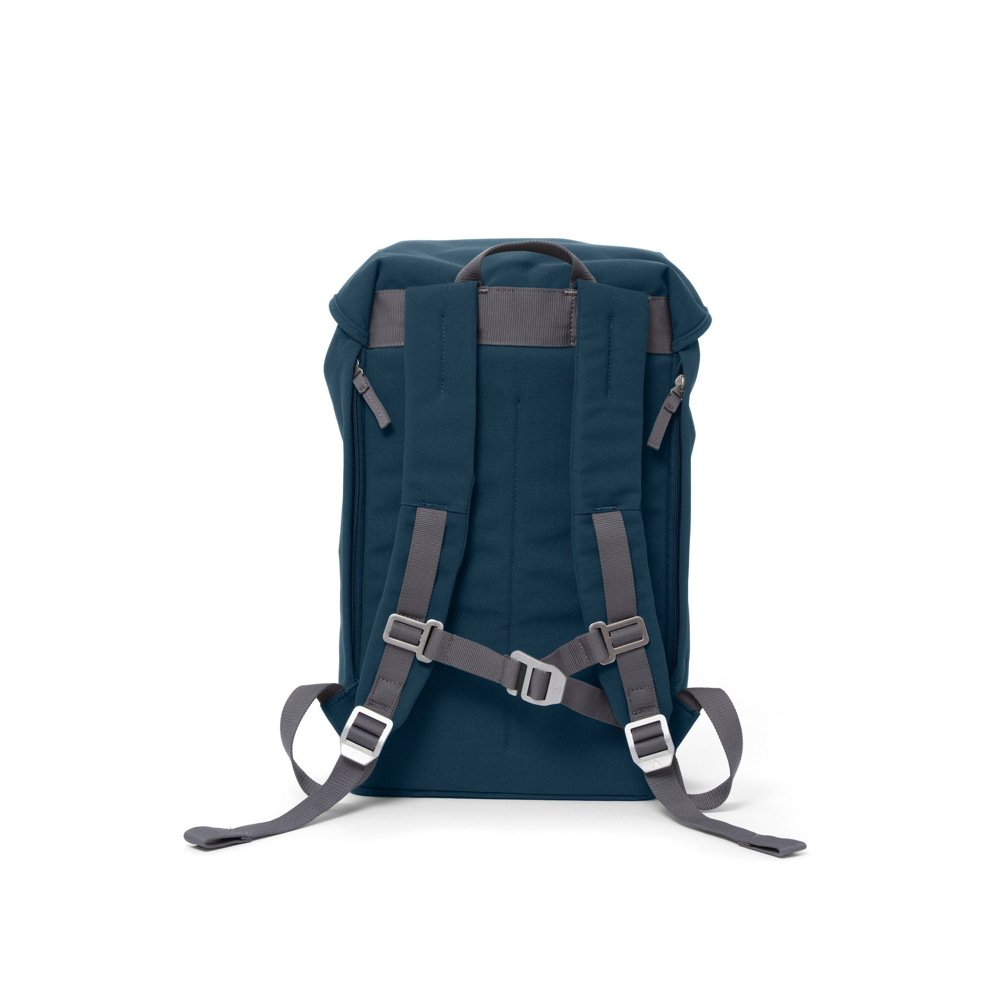 Blue waterproof backpack with padded shoulder straps and chest strap.
