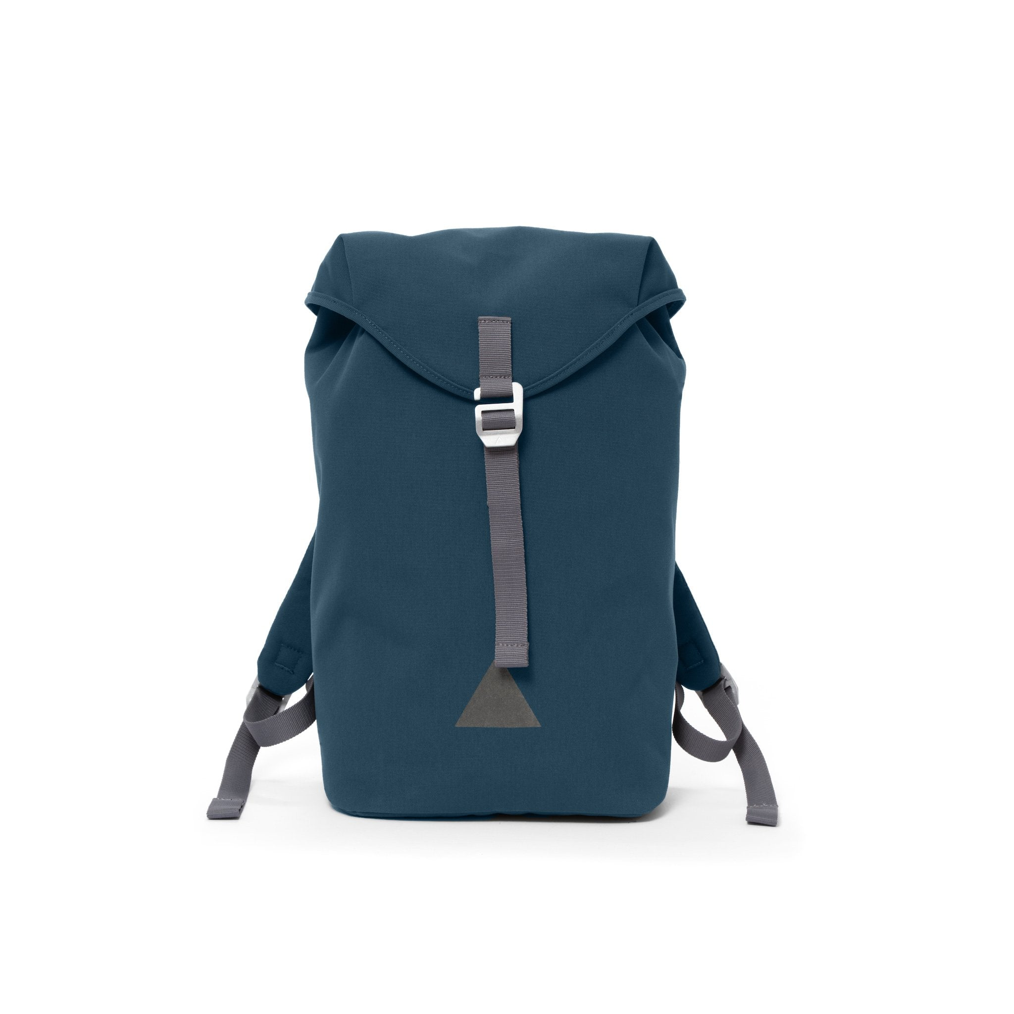 Blue canvas backpack with a flap closure and triangle logo.