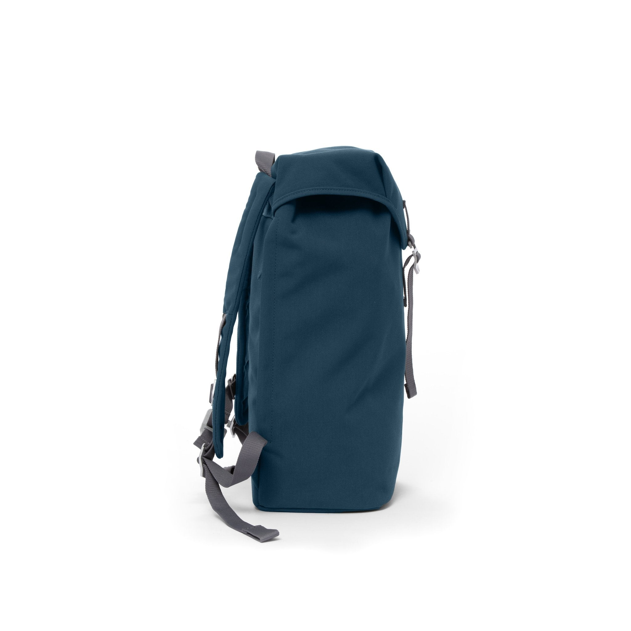 Blue waterproof backpack with flap and metal buckle.