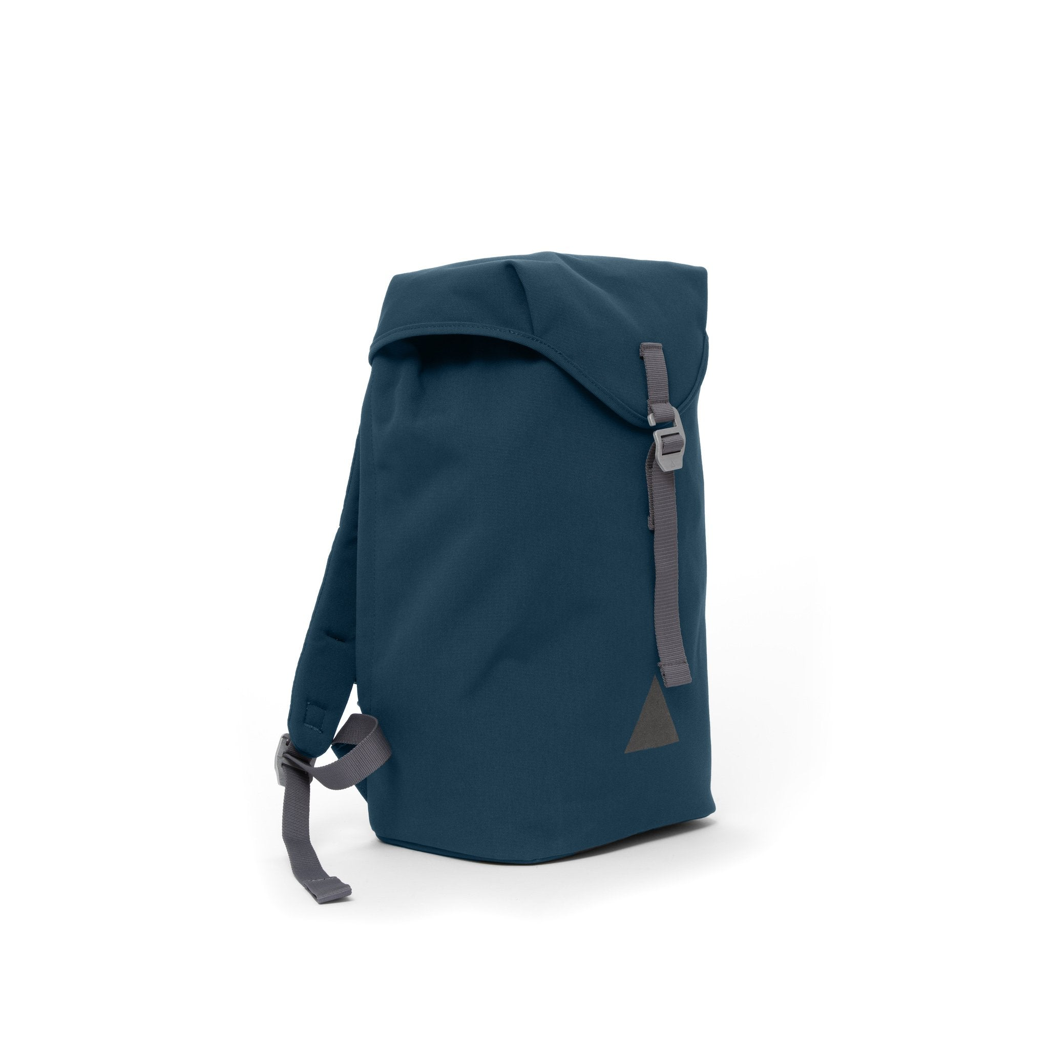 Blue recycled canvas backpack with strap closure and metal buckle.