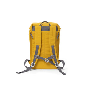 Yellow waterproof backpack with padded shoulder straps and chest strap.