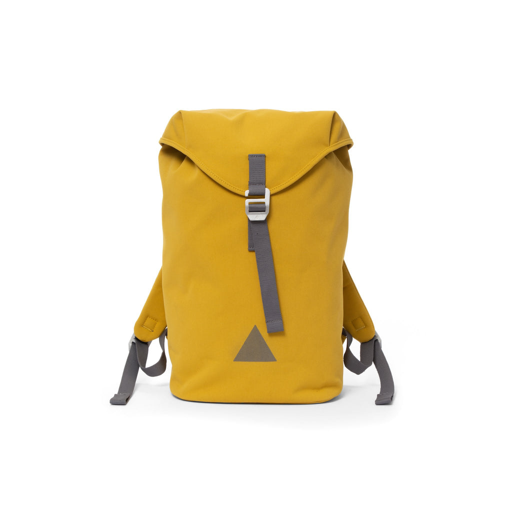 Yellow canvas backpack with a flap closure and triangle logo.