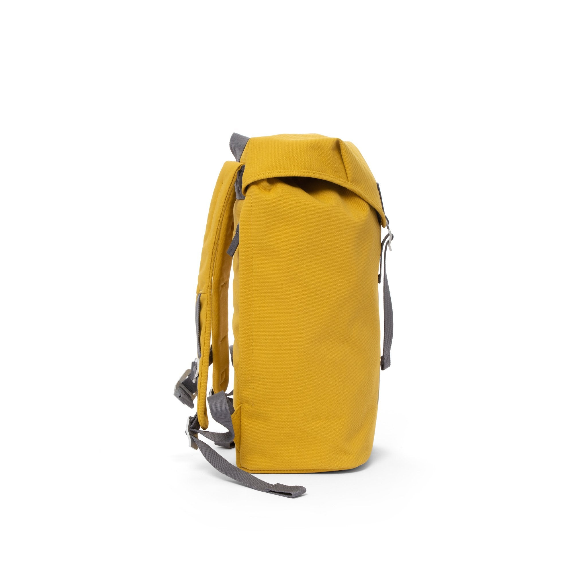 Yellow waterproof backpack with flap and metal buckle.