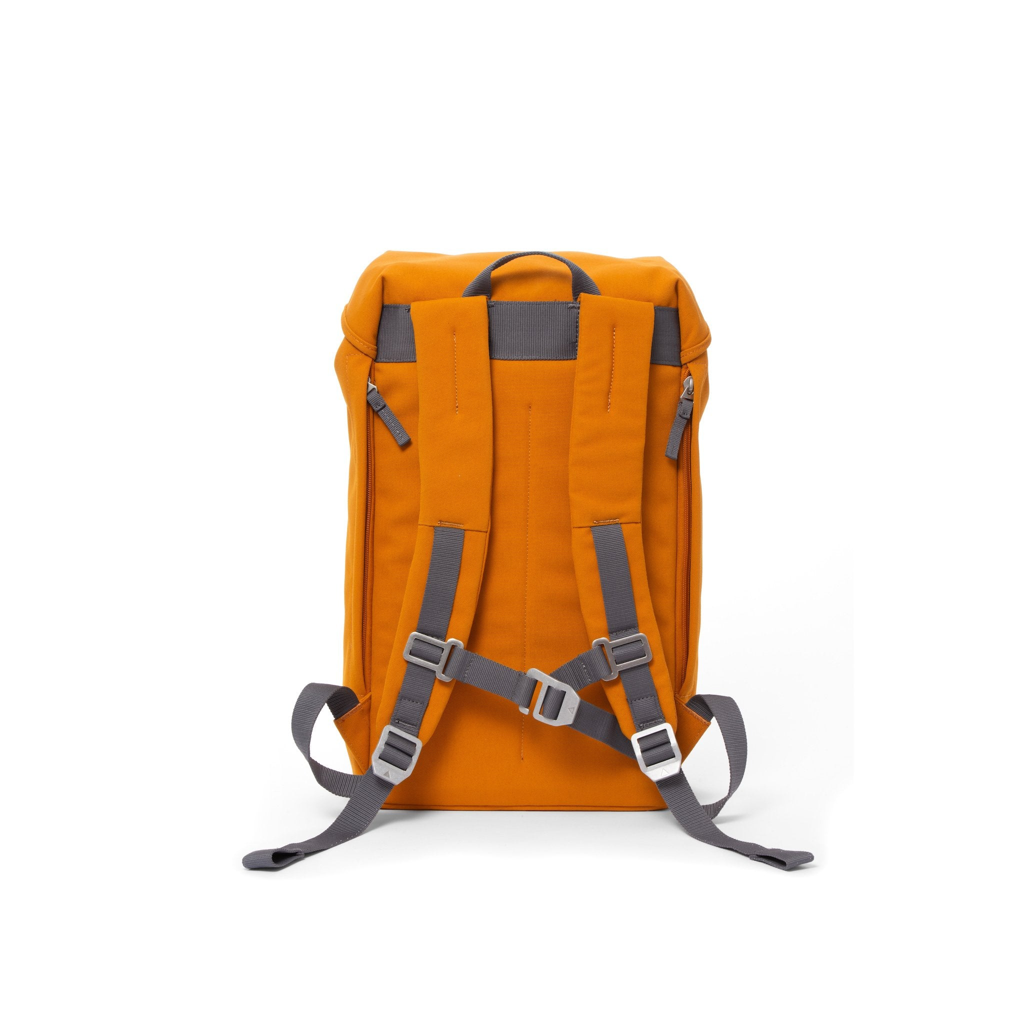 Orange waterproof backpack with padded shoulder straps and chest strap.
