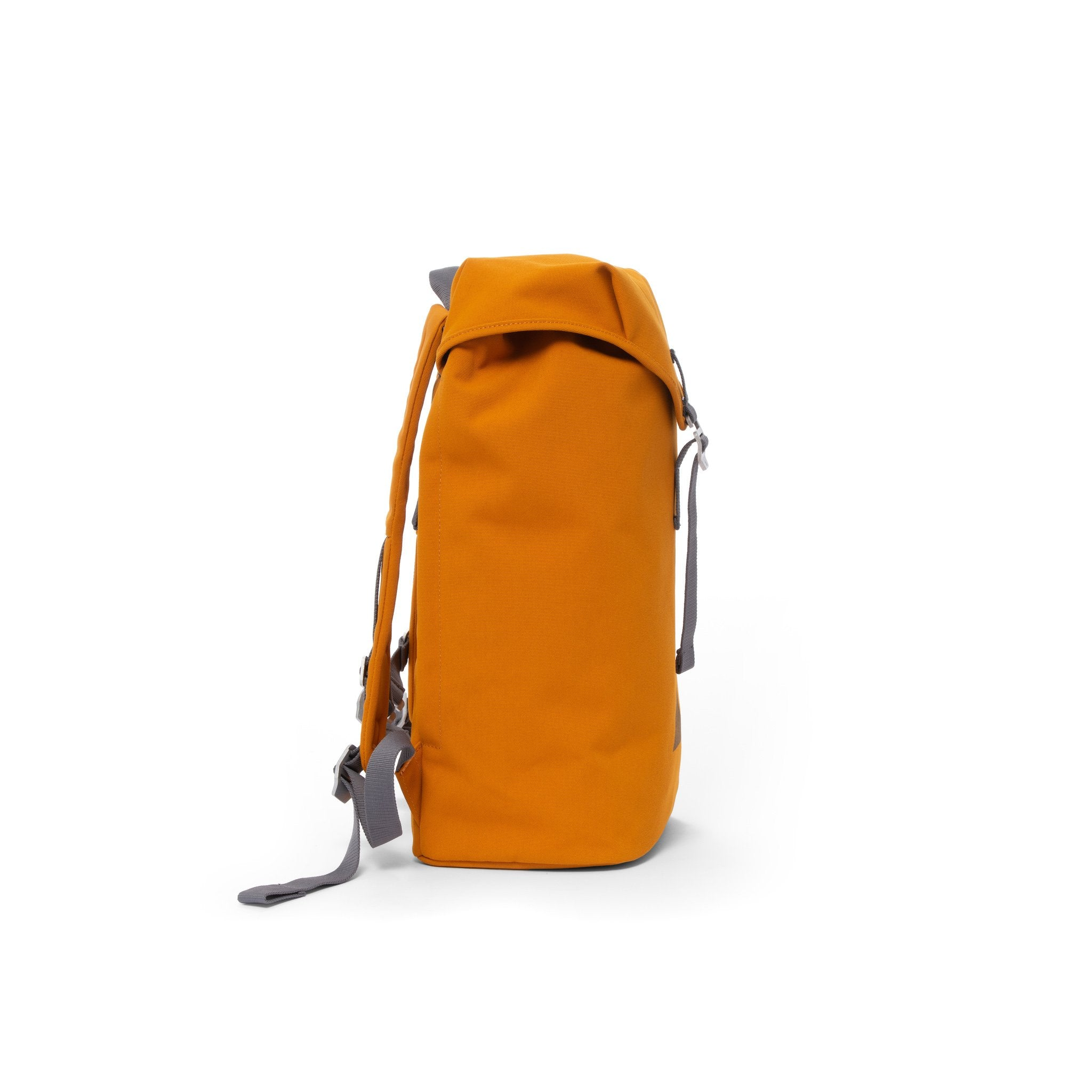 Orange waterproof backpack with flap and metal buckle.