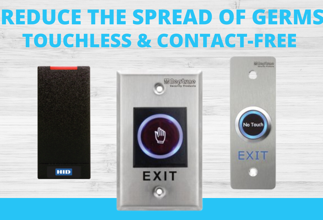 Reduce the spread of germs with touchless buttons and electronic readers