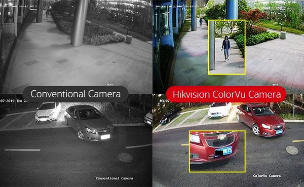 Comparison of conventional CCTV camera against ColorVu camera for thoroughfare and vehicle