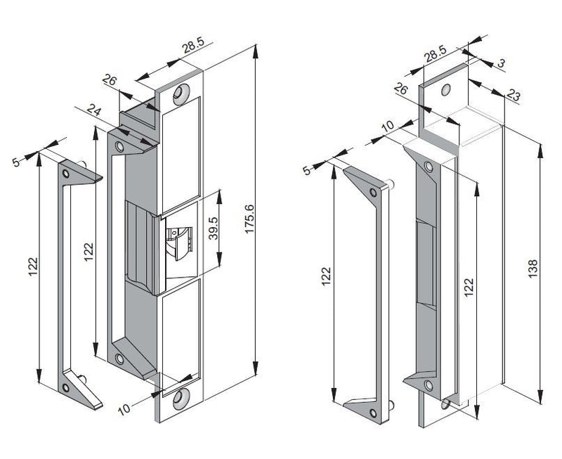 FSH FES20 Electric Door Strike Dimensions