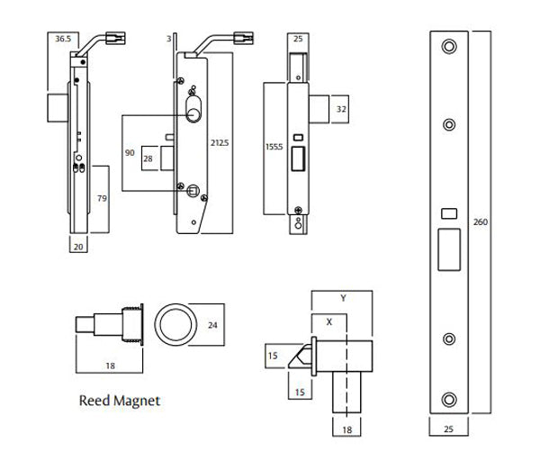 Assa Abloy Lockwood PD-6582ELAN0RSC Electric Mortice Lock Dimensions