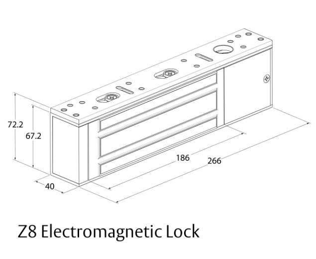 Assa Abloy Lockwood PD-770600-S Z8 Electromagnetic Lock Dimensions