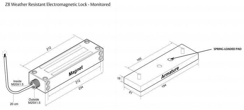 Assa Abloy Lockwood PD-770600-S Z8 Electromagnetic Lock Specifications