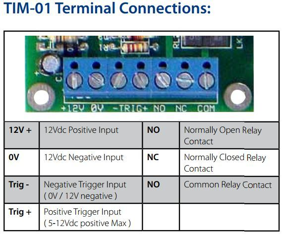Tactical TP-TIM-01 Universal Timer Module Terminal Connections