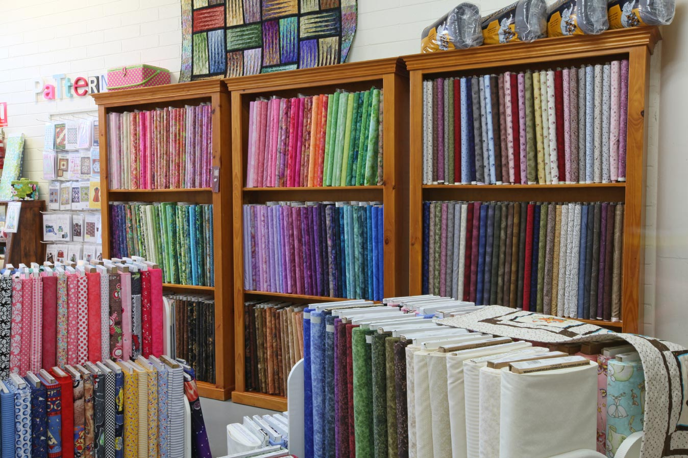 The Quilters' Patch shop interior fabrics