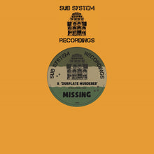 "Load image into Gallery viewer, Missing 'Dubplate Murderer/Fixate Remix' 10"" – SSR002 - Sub System Recordings 10"" Vinyl"