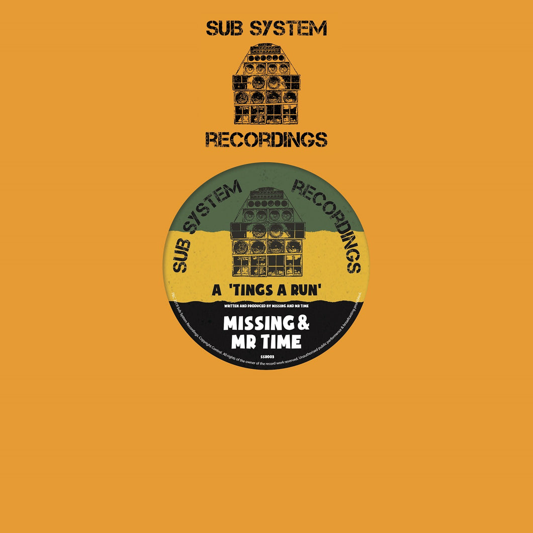 Missing & Mr Time 'Tings A Run'/Missing 'X Amount Of Dub' – SSR003 - Sub System Recordings 10