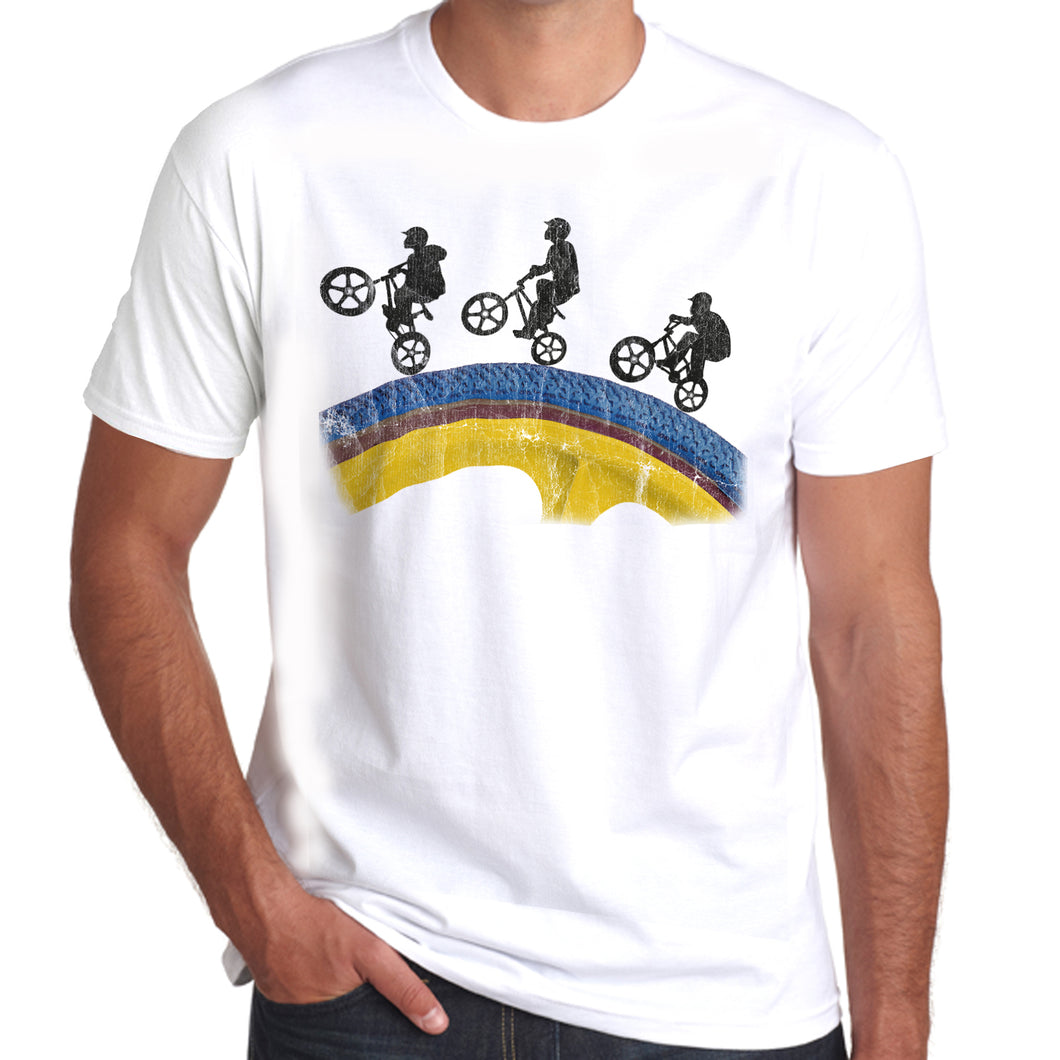 Sillouette BMX Wheel Riders distressed print T-Shirt 100% Cotton