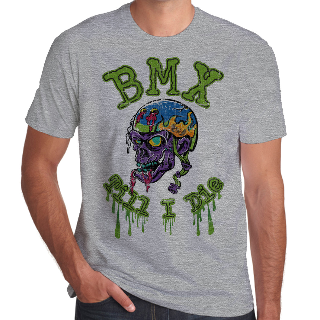 BMX Till I Die Rad Air Skull distressed print T-Shirt 100% Cotton